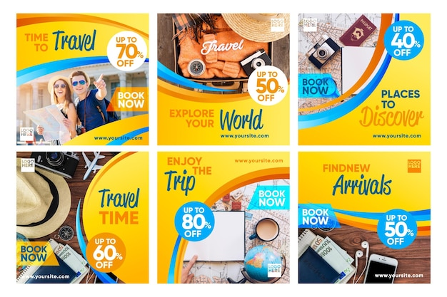 Colección de publicaciones de instagram de venta de viajes