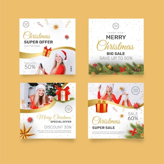 Colección de publicaciones de instagram de ventas navideñas