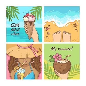 Colección de publicaciones de instagram de verano dibujadas a mano con foto