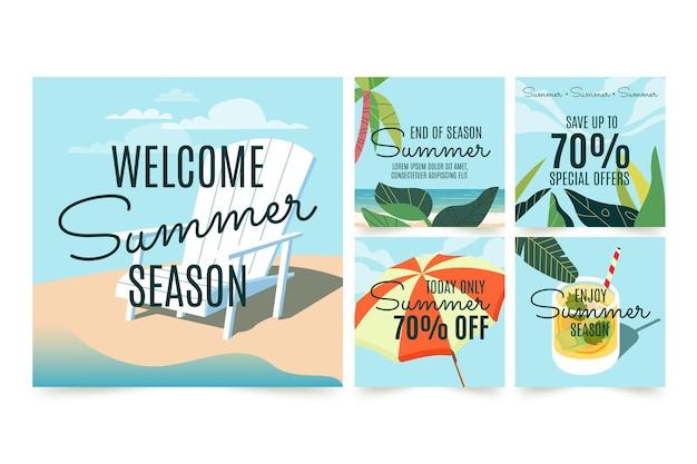 Colección de publicaciones de instagram de verano dibujadas a mano con foto vector gratuito