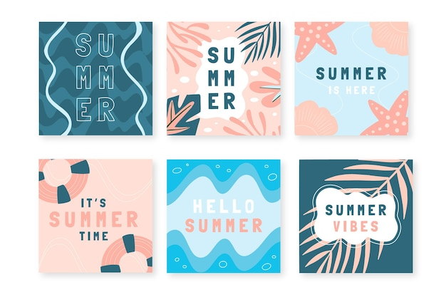 Colección de publicaciones de instagram de verano dibujadas a mano