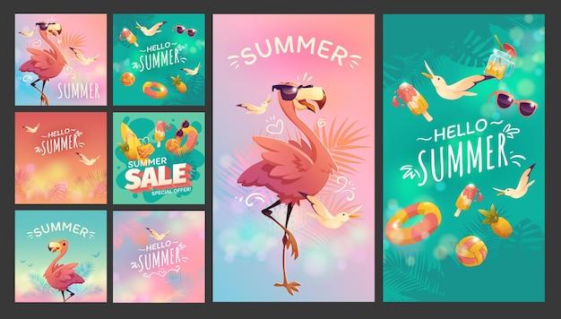 Colección de publicaciones de instagram de verano de dibujos animados