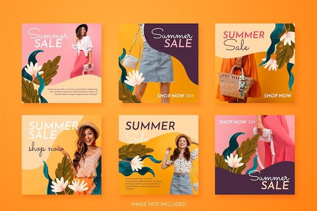 Colección de publicaciones de instagram de verano con fotos y flores.
