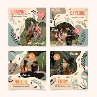 Colección de publicaciones de instagram de viajes dibujadas a mano