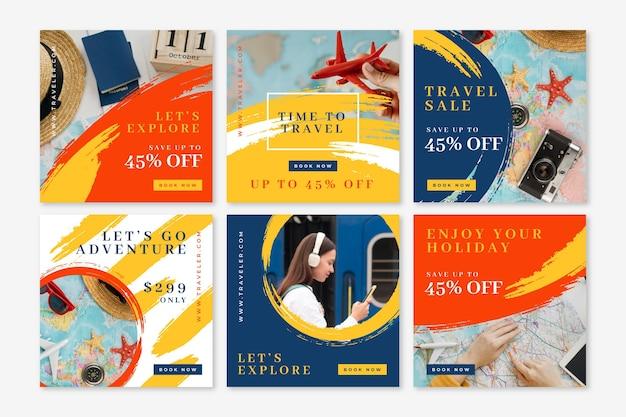 Colección de publicaciones de instagram de viajes con pinceladas