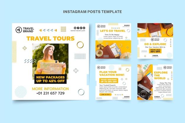 Colección de publicaciones de instagram de viajes planos
