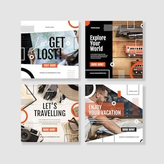 Colección de publicaciones de instagram de viajes