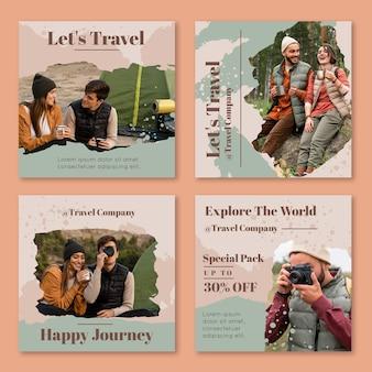 Colección de publicaciones de instagram de viajes vector gratuito