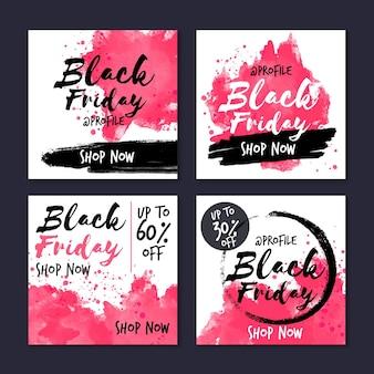 Colección de publicaciones de instagram de viernes negro en acuarela