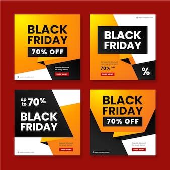 Colección de publicaciones de instagram de viernes negro degradado