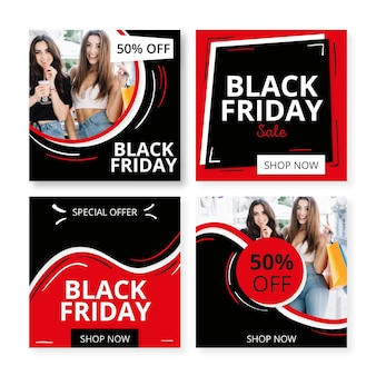 Colección de publicaciones de instagram de viernes negro dibujadas a mano