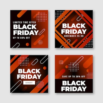 Colección de publicaciones de instagram de viernes negro de diseño plano