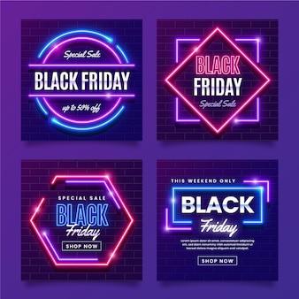 Colección de publicaciones de instagram de viernes negro de neón