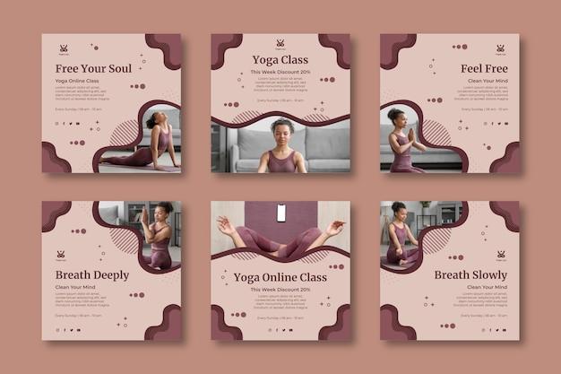 Colección de publicaciones de instagram de yoga en casa