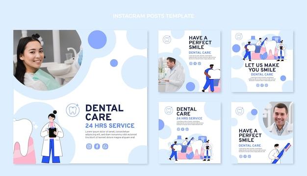 Colección de publicaciones médicas planas de instagram