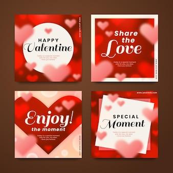 Colección de publicaciones modernas del día de san valentín