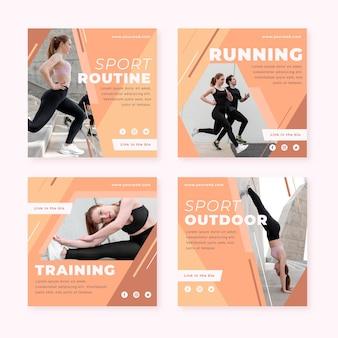 Colección de publicaciones planas de salud y fitness con foto