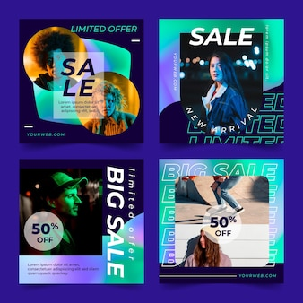 Colección de publicaciones de rebajas de instagram gradiente