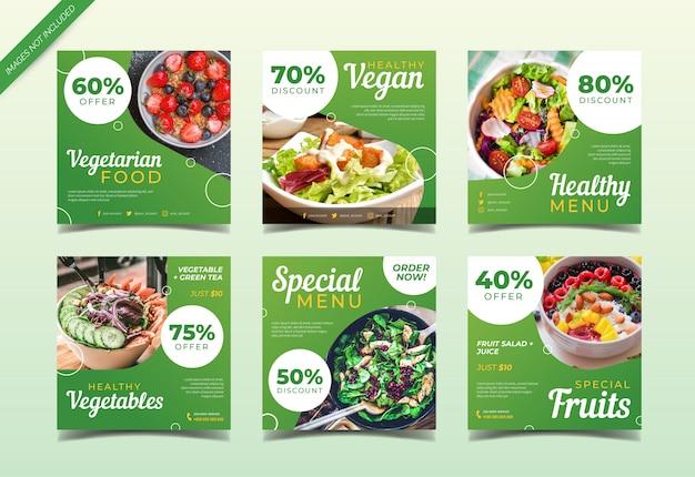 Colección de publicaciones de redes sociales de comida vegetariana