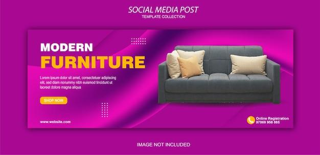 Colección de publicaciones de redes sociales de muebles modernos.