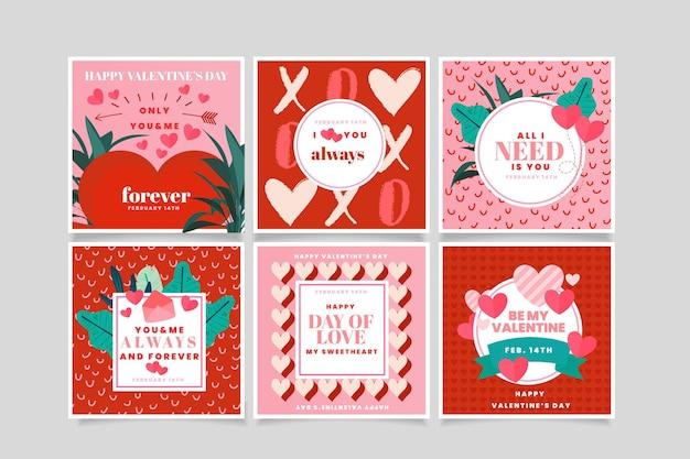 Colección de publicaciones de redes sociales de san valentín