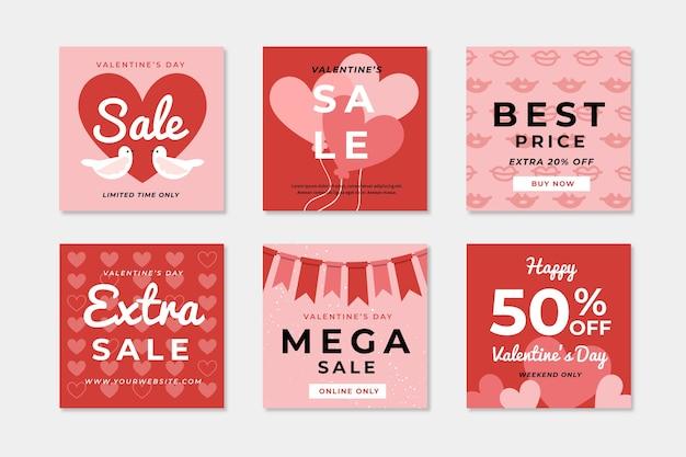 Colección de publicaciones de redes sociales de venta de san valentín