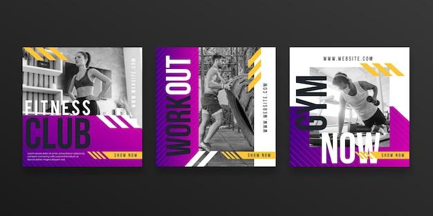 Colección de publicaciones de salud y fitness con degradado con foto