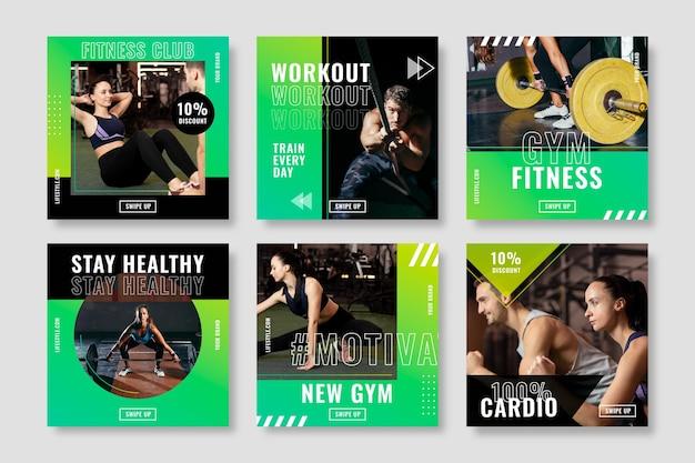 Colección de publicaciones de salud y fitness con foto
