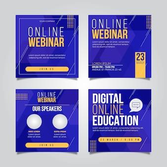 Colección de publicaciones de seminarios web en redes sociales