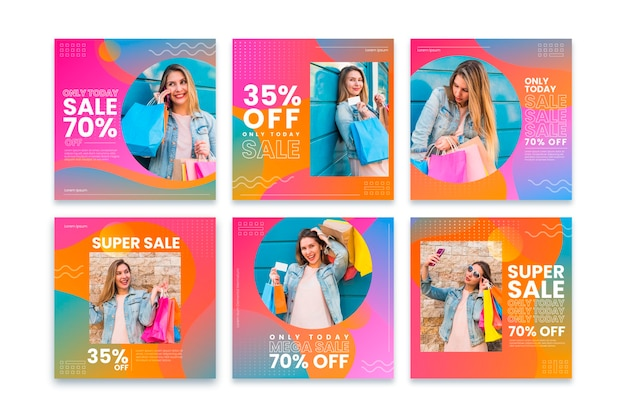 Colección de publicaciones de venta de instagram gradiente con foto