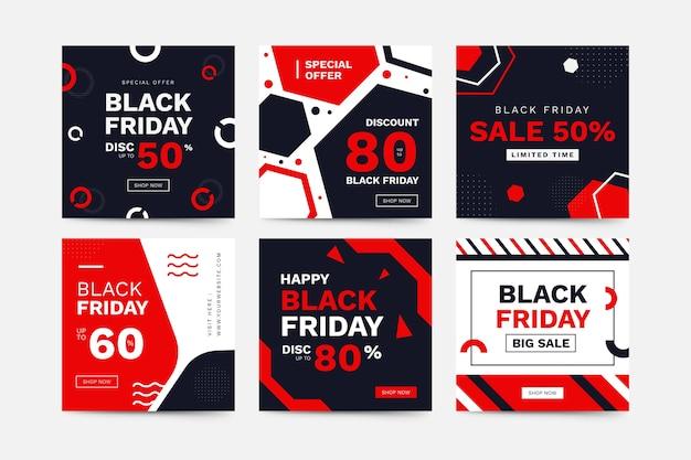 Colección de publicaciones de viernes negro de instagram