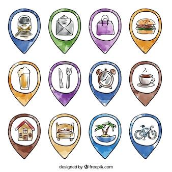 Colección de punteros de acuarela dibujados a mano con iconos