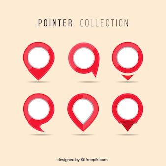 Colección de punteros blancos y rojos