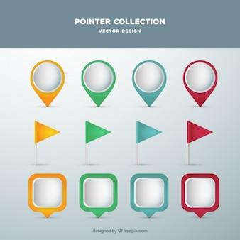 Colección de punteros modernos de colores en diseño plano