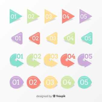 Colección puntos de enumeración colores pastel