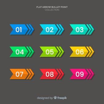 Colección puntos de enumeración coloridos