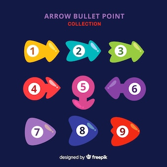Colección puntos de enumeración flechas coloridas