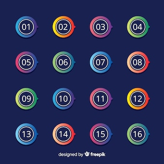 Colección puntos de enumeración planos coloridos