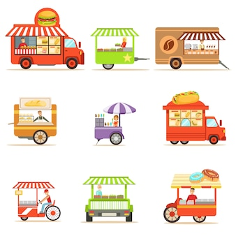 Colección de quioscos de comida callejera con ruedas y sin ellos, con un vendedor sonriente que sirve ilustraciones de comida rápida
