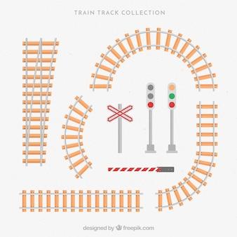 Colección de raíles de tren y semáforos