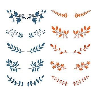 Colección de ramas decorativas
