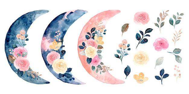 Colección de ramo de acuarela de rosas y luna creciente