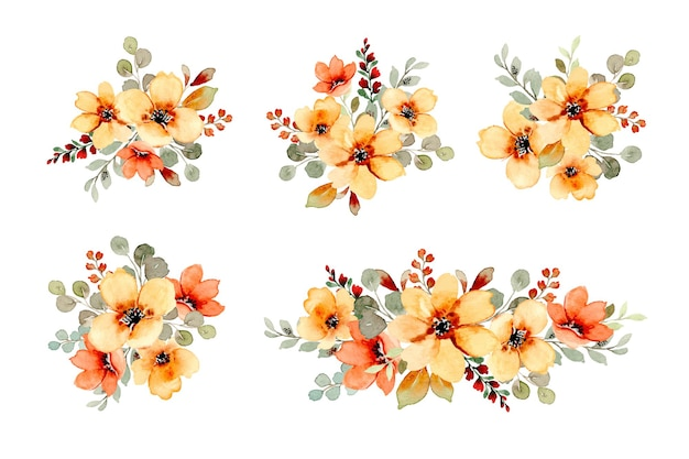 Colección de ramo floral amarillo y naranja con acuarela
