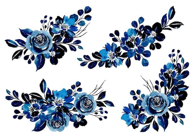Colección de ramo floral azul con acuarela