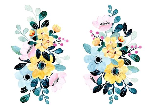 Colección de ramo floral azul amarillo con acuarela
