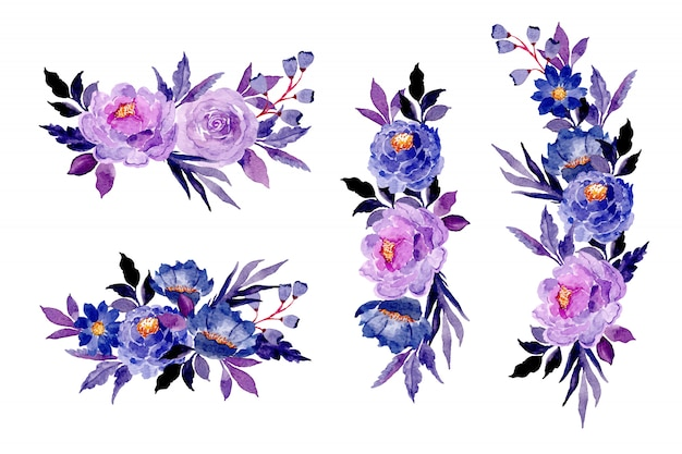 Colección de ramo floral azul púrpura