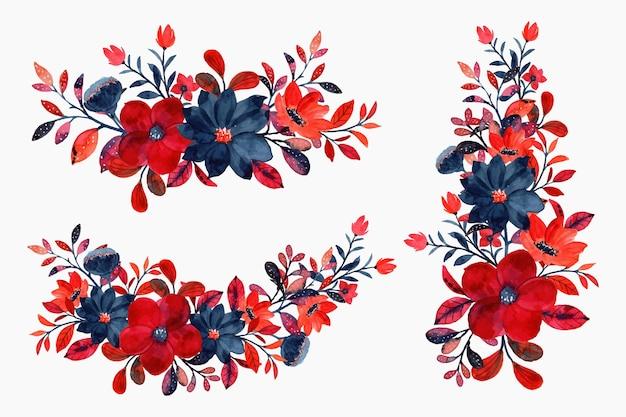 Colección ramo floral rojo acuarela