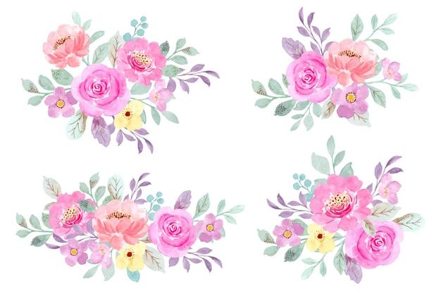 Colección de ramo floral rosa con acuarela