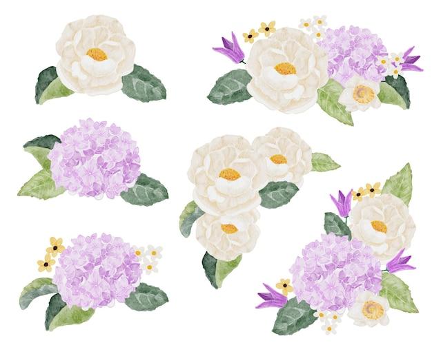 Colección de ramo de flores de acuarela camelia blanca y hortensia púrpura