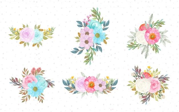 Colección de ramo de flores acuarela dibujada a mano